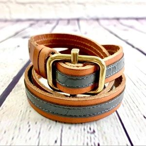 J. Crew Brown and Grey Leather Belt Size S